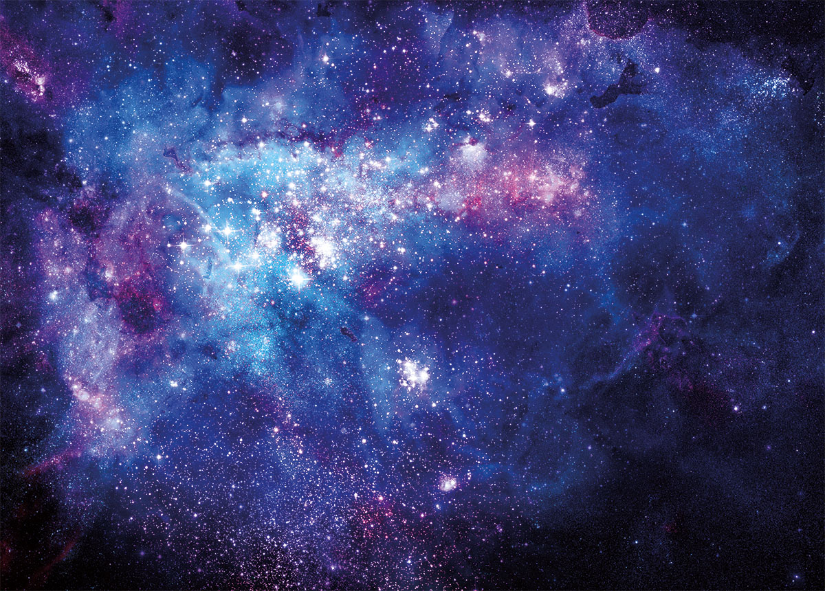 bright nebula gas cloud in deep outer space