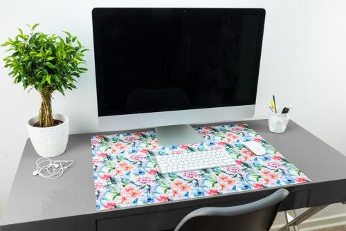 Blumen- & Vögel-Schreibtischunterlage